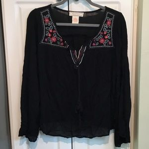 Flying Tomato Black Embroidered Peasant Top